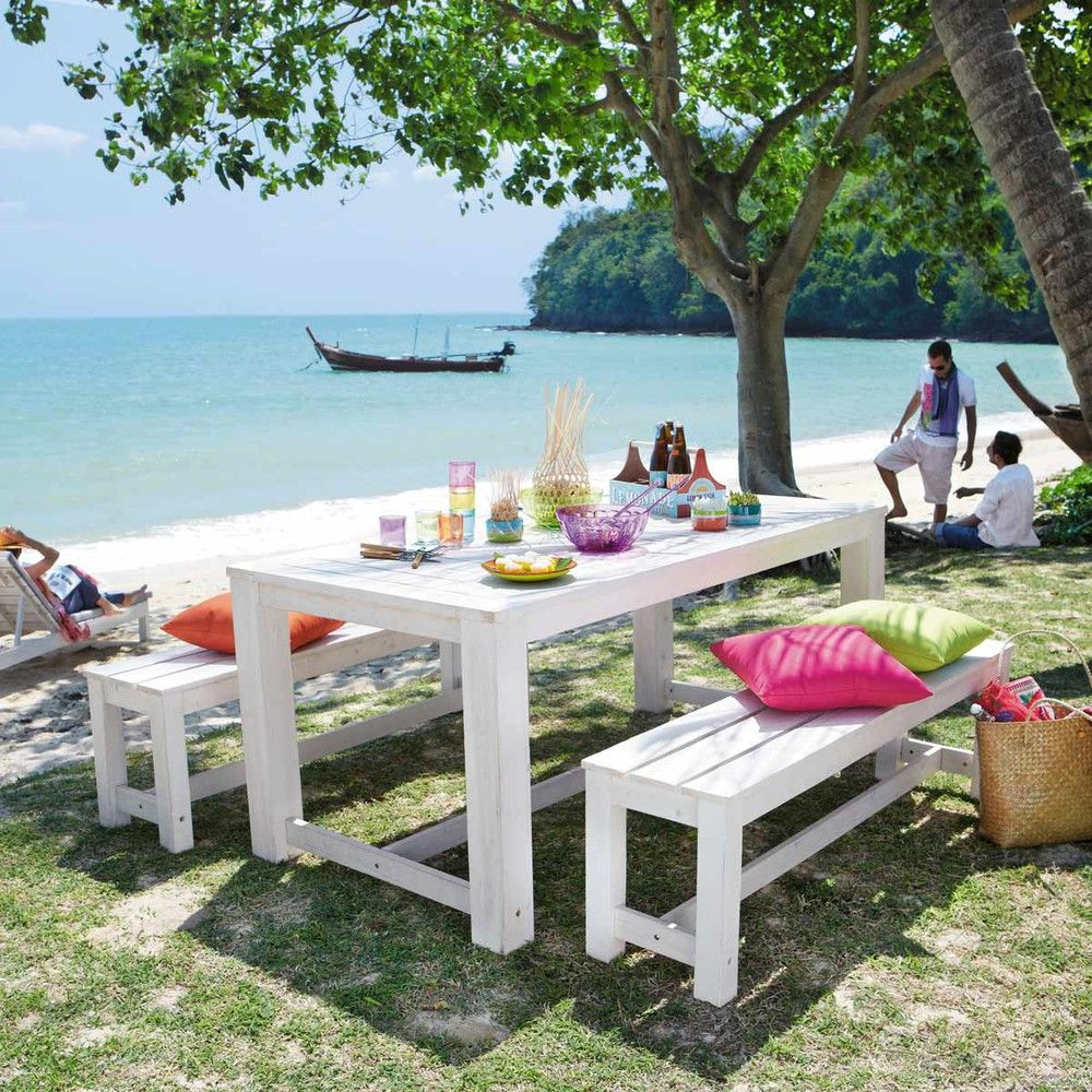 Wooden garden table + 2 benches in white W 180cm | Treehouse style ...
