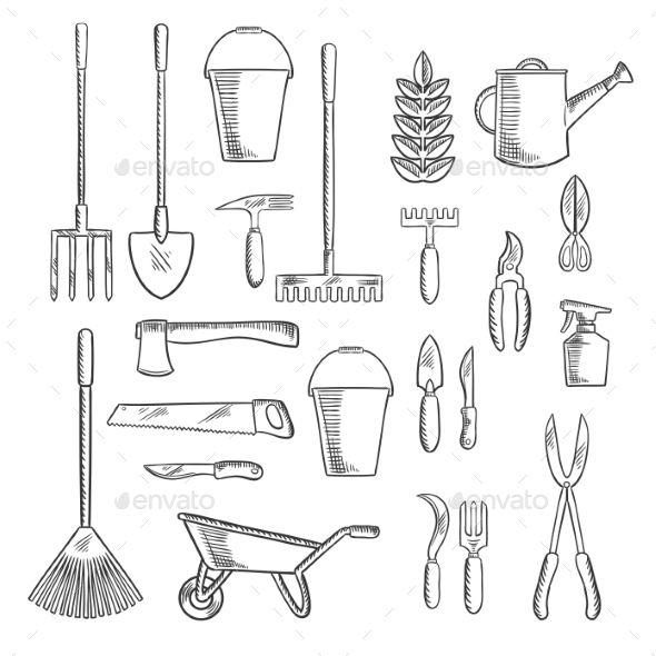 Gardening Tools Sketches For Farming Design Garden Scissors
