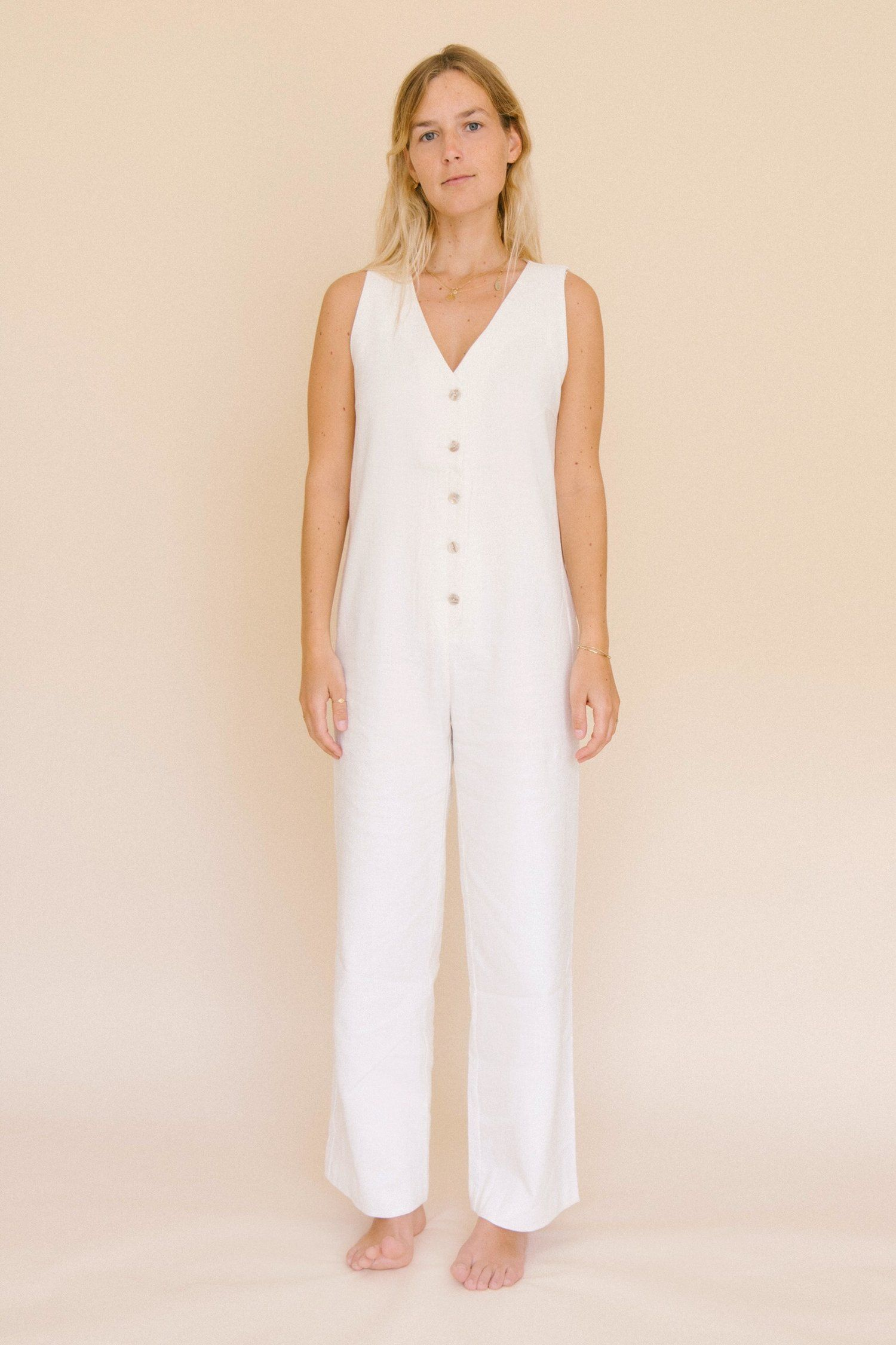 d04e215aa456 JUMPSUITS FOR WOMEN. WHITE LINEN JUMPSUIT. Linen jumpsuit with v-neckline  and side