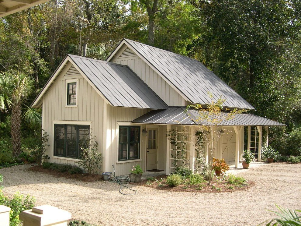 Metal Hip Roof Exterior Farmhouse With Beige Board And Batten Siding Traditional Novelty Outdoor Metal Roof Houses Metal Building Homes Cottage House Exterior