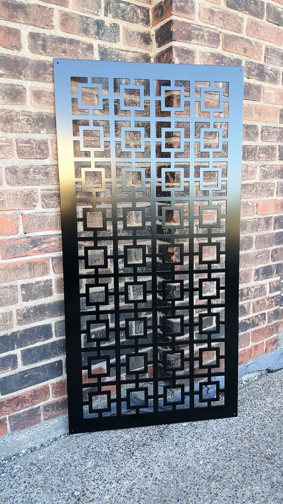 Square1 Metal Privacy Screen Decorative Panel Garden Fence Etsy Window Grill Design Metal Doors Design Fence Decor