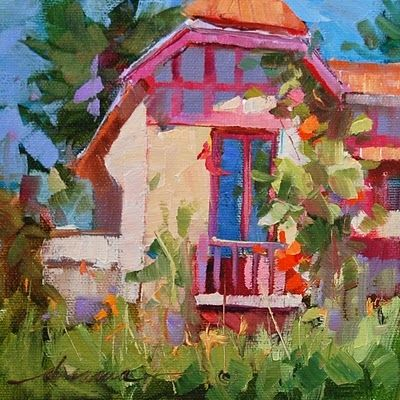 """""""Storybook House of France"""", painting by artist Dreama Tolle Perry"""