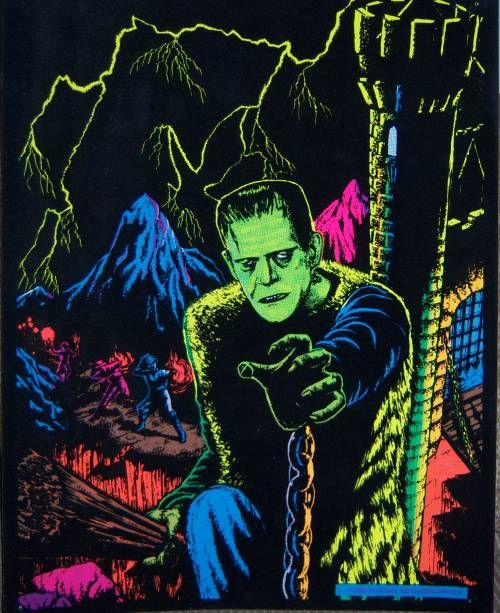 1970 s frankenstein black lite poster halloween pinterest frankenstein monsters and horror. Black Bedroom Furniture Sets. Home Design Ideas