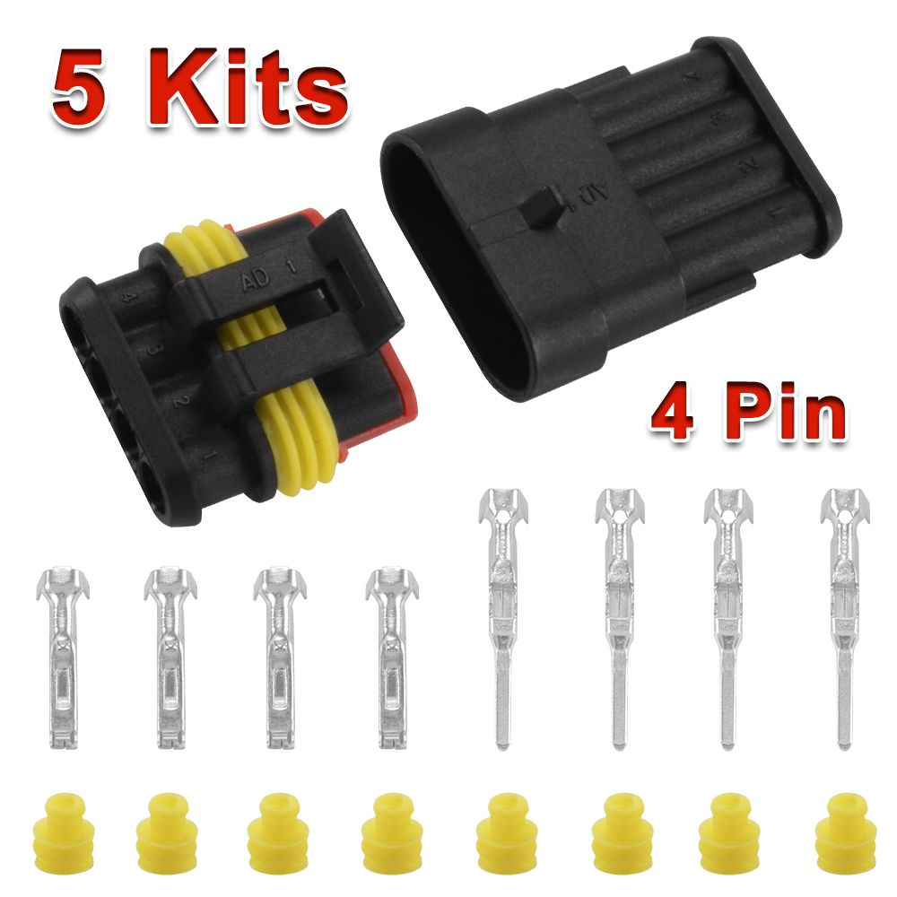 5 Kit Car Superseal Electrical Wire Connector 4 Pin Way Waterproof 12v Ma380 Electrical Wire Connectors Wire Connectors Electronic Accessories