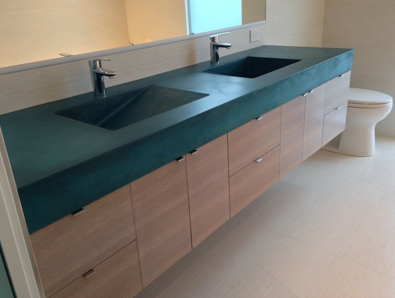 Marvelous Concrete Vanity Ramp Sinks Emerald