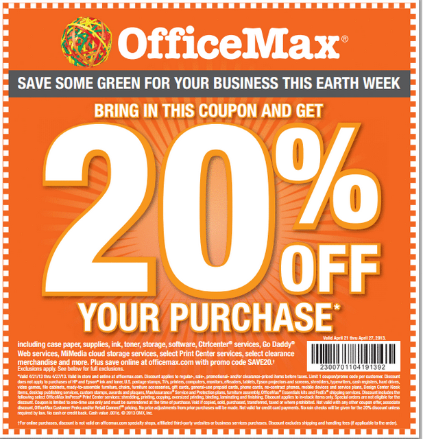 office max printable coupon and promo code to save 20 off of your total