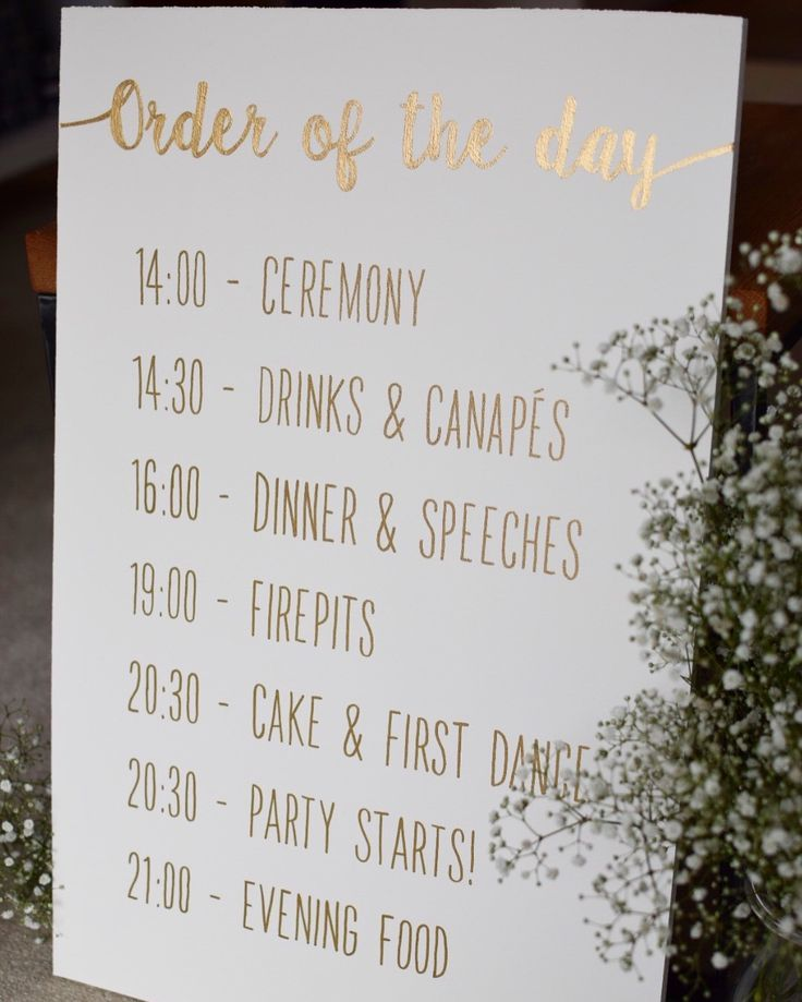 Ceremony Abroad Reception At Home: Personalised Order Of The Day Hand Painted Wooden Sign