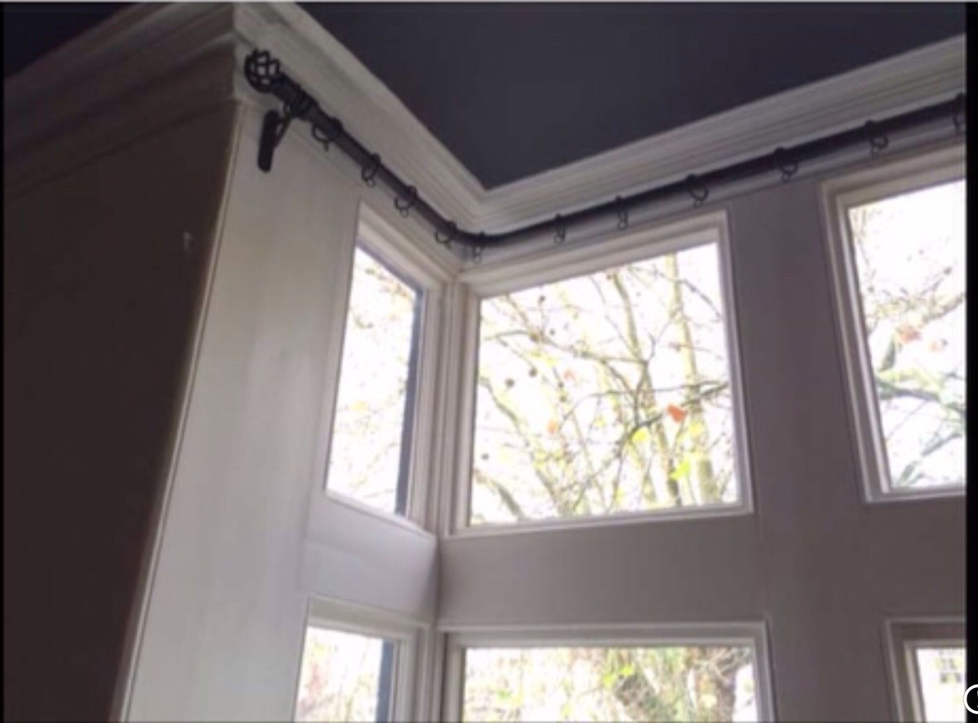 Curtain Pole For Box Bay Window Only Three Brackets Bay Window Curtain Poles Bay Window Bay Window Treatments