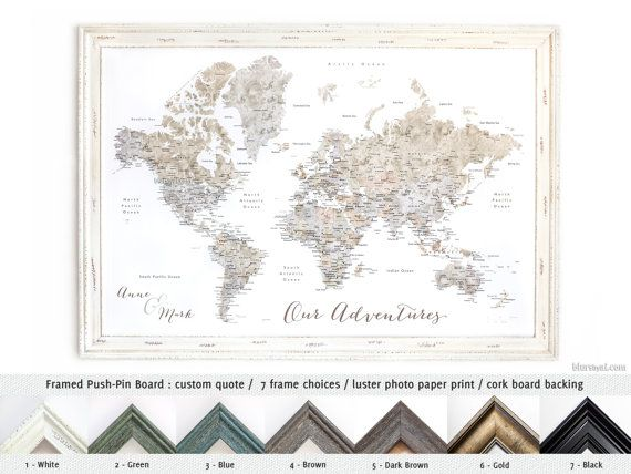 Personalized framed push pin board world map travel pinboard personalized framed push pin board world map travel pinboard watercolor world map with cities gumiabroncs Choice Image