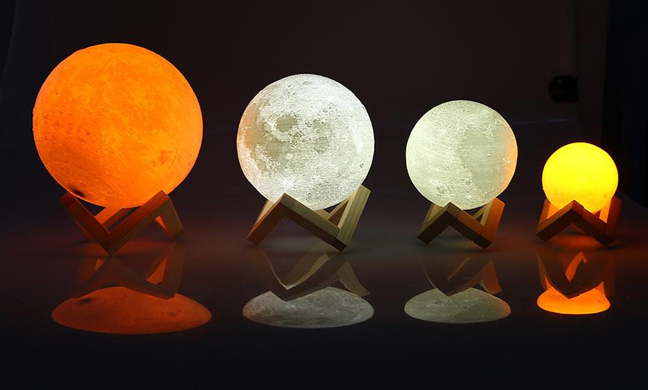 Luna Color Changing Magical Moon Lamp Wood Stand Moon Light Lamp Lamp Led Night Light