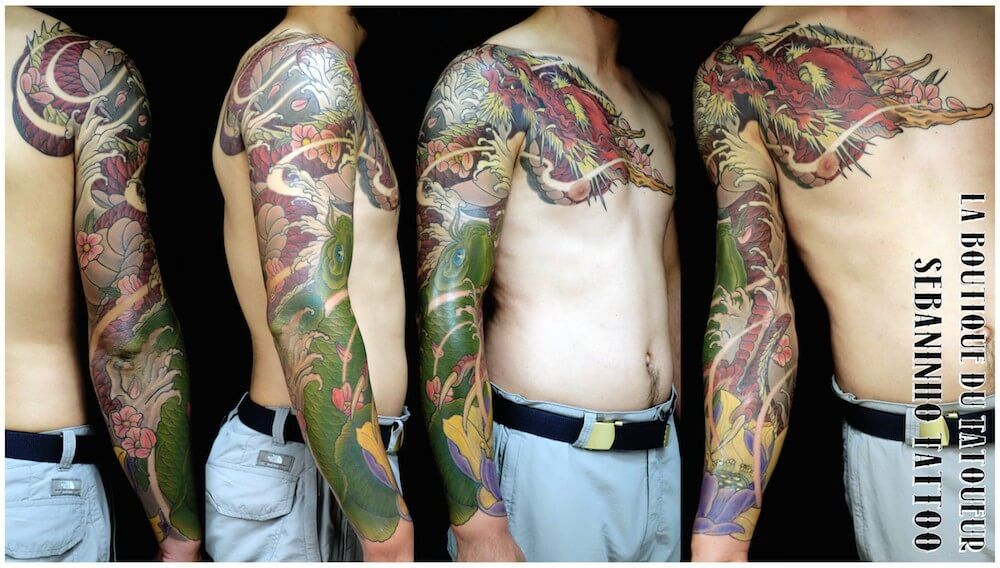 tatouage japonais d 39 un bras homme dragon rouge koi verte lotus sebaninho tattoo tatouage. Black Bedroom Furniture Sets. Home Design Ideas