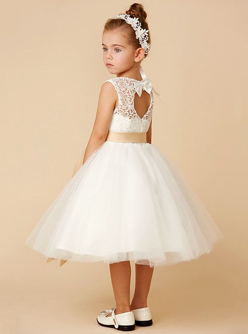 f98dccef6cd Princess Tea Length Flower Girl Dress - Lace   Tulle Sleeveless Jewel Neck  with Bow(