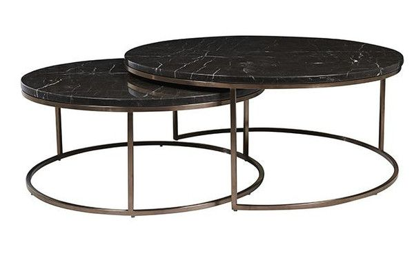 Globe West Elle Round Nest Coffee Table 2 300 Avail In Antique Brass And White Marble Large Marble Coffee Table Black Marble Coffee Table Coffee Table