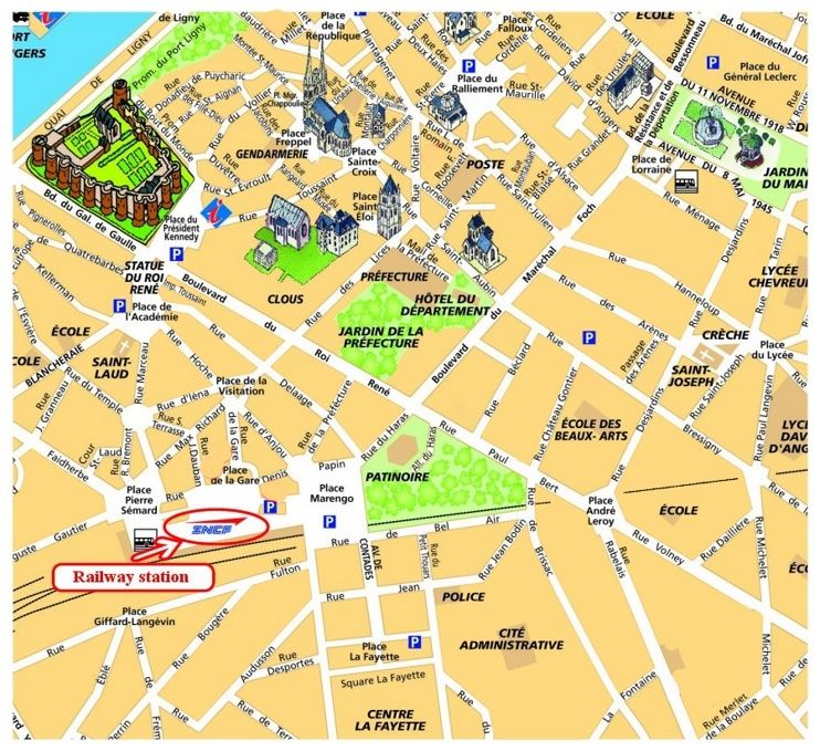 Angers sightseeing map Maps Pinterest France and City