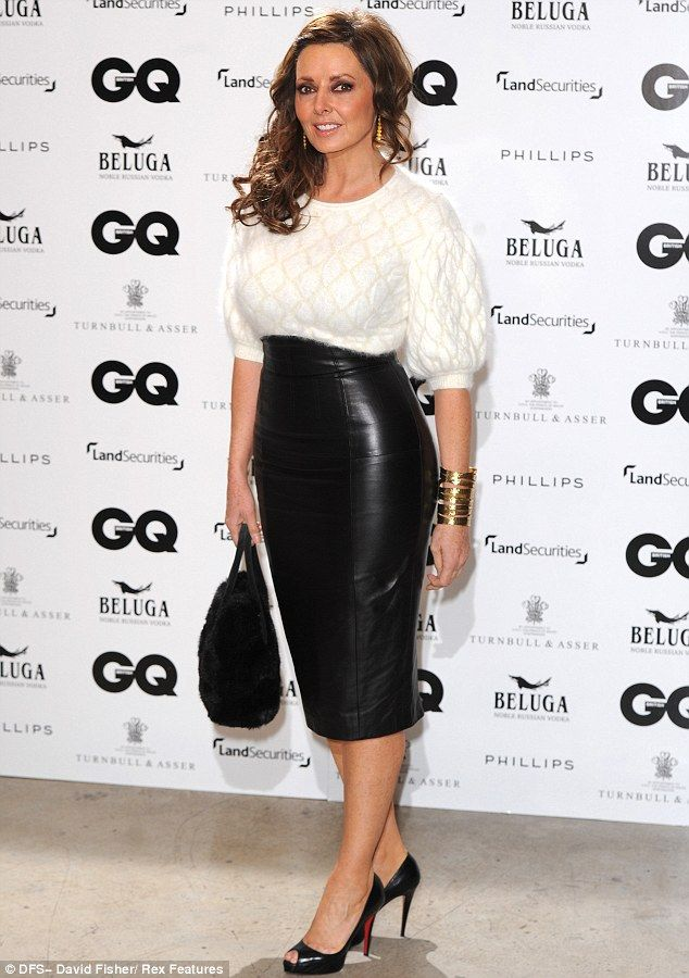 Carol Vorderman wears tight leather skirt at GQ anniversary dinner ...