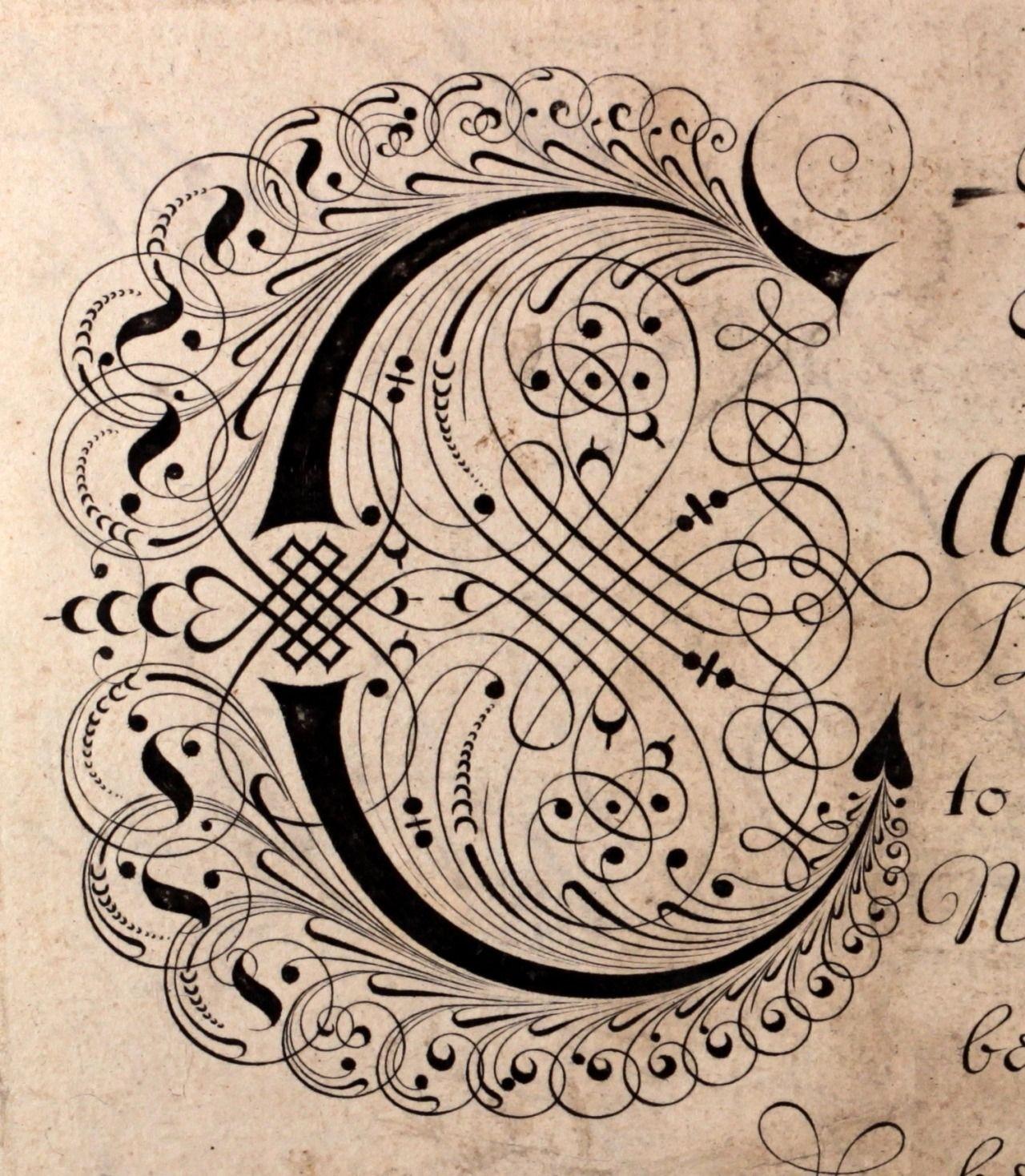 Elaborate Calligraphy Edward Cocker Early 18th
