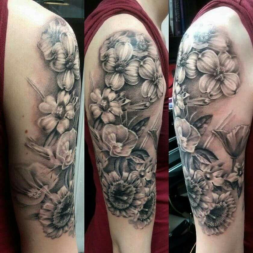 I love my new black and grey flower half sleeve ! # ...