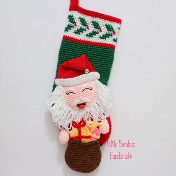 Mr. Claus Christmas Stocking crochet pattern by Little Bamboo Handmade