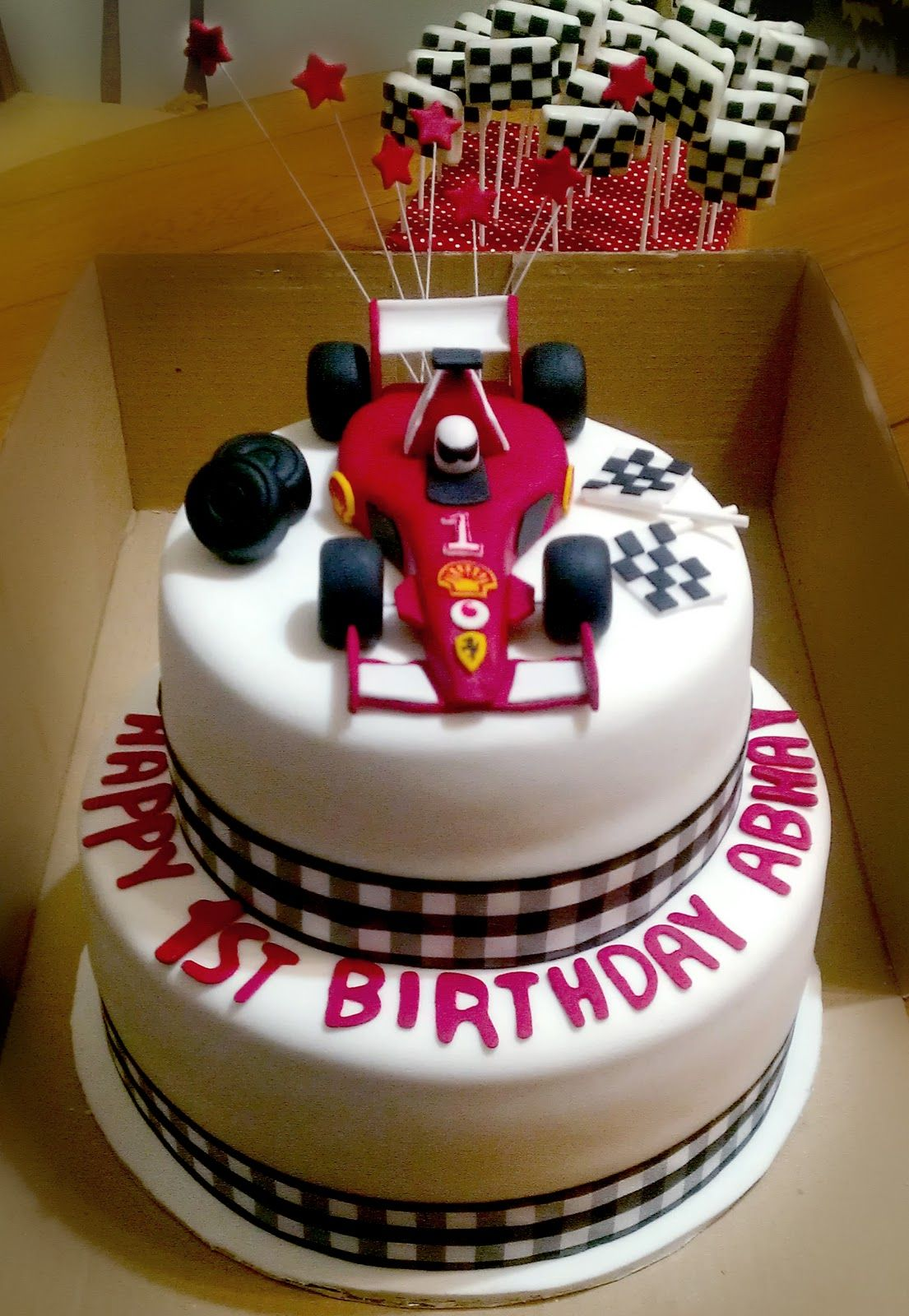 race car cupcake stand Checkered Flag Cake Car themed bday