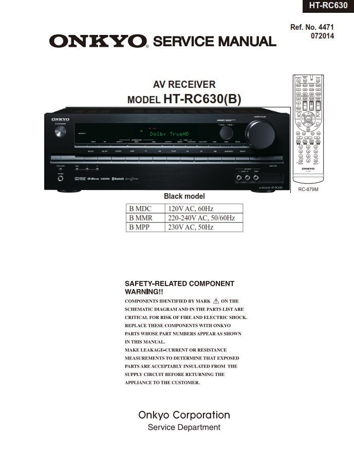 Onkyo Ht V Receiver Service Manual And Repair