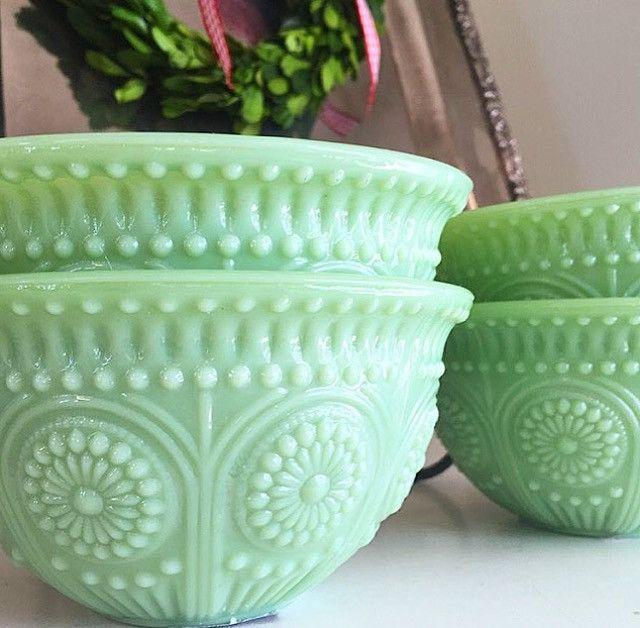 Vintage Kitchen Bowls: Jadeite Bowls Set Of 2