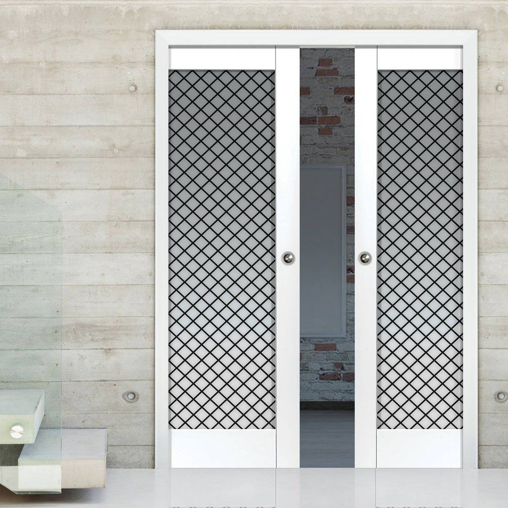 Double Pocket Tobago White Sliding Door System In Three Size Widths With Opaque Checked Glass Sliding Door Systems Pocket Doors Sliding Doors