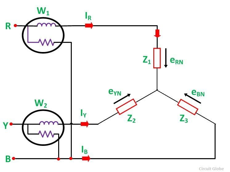 Two Wattmeter Method Of Power Measurement Fig 1 Delta Connection Circuit Electrical Engineering