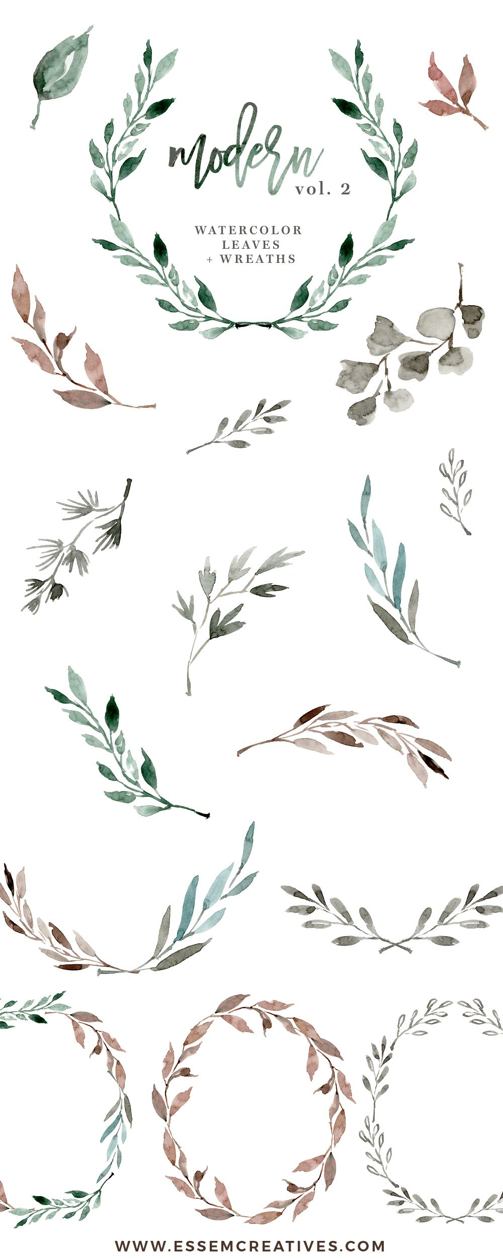 Watercolour Leaves Wreaths Clipart Greenery Wedding Clipart