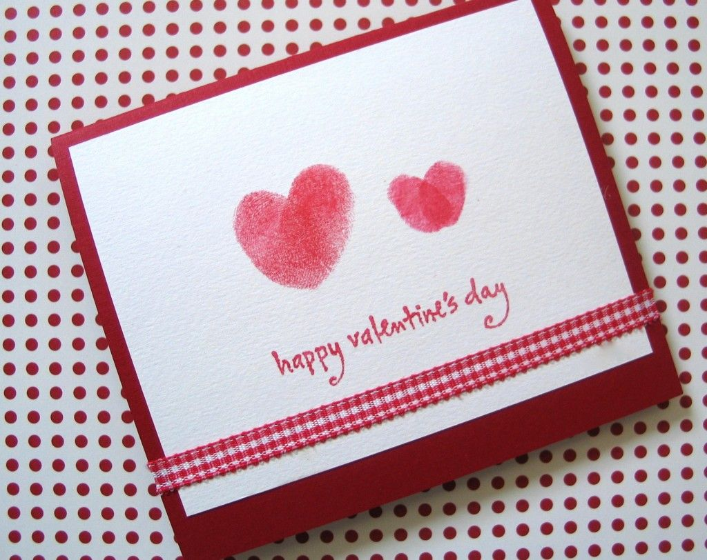 Make Valentine Cards Ideas Part - 40: Valentineu0027s Day Craft Series: Thumbprint Valentineu0027s Day Card For Kids