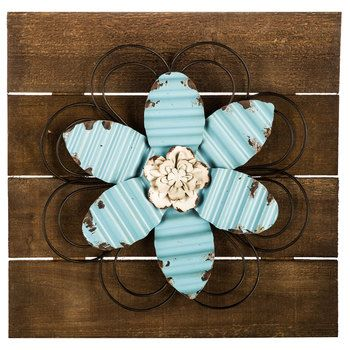 Blue Metal Flower On Wood Planks Wall Decor Wall Art In 2018