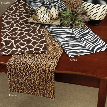 Nice Safari Animal Print Table Runners