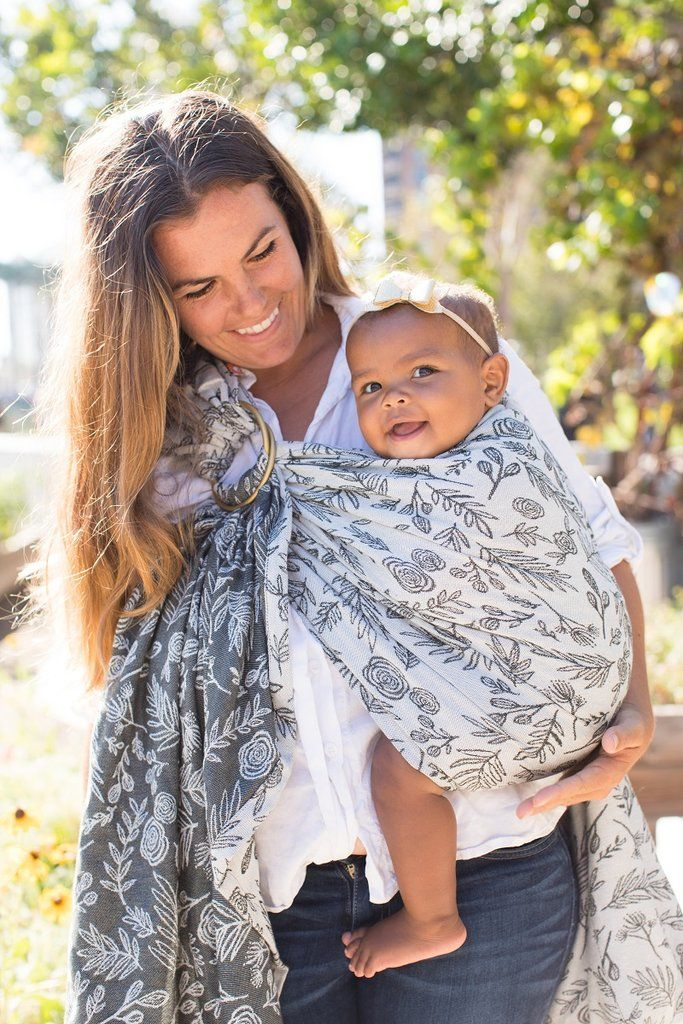 Black And White Floral Baby Carrier Ring Sling Julia James Cotton