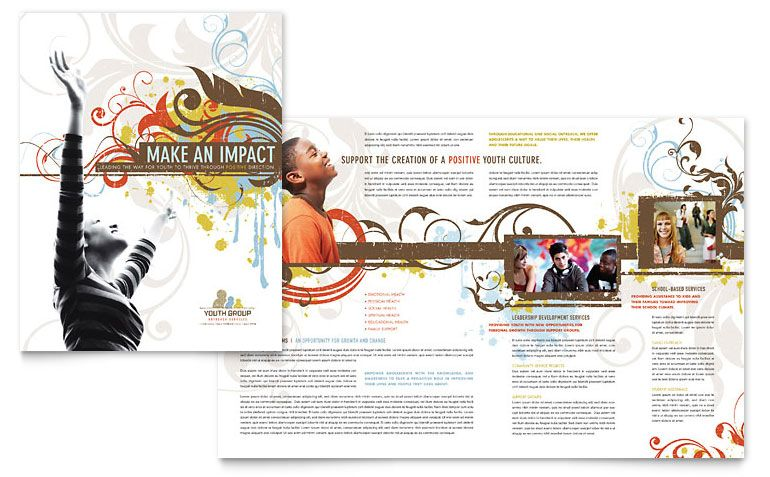 Church Ministry Youth Group Brochure Template Design Graphic - Free publisher brochure templates