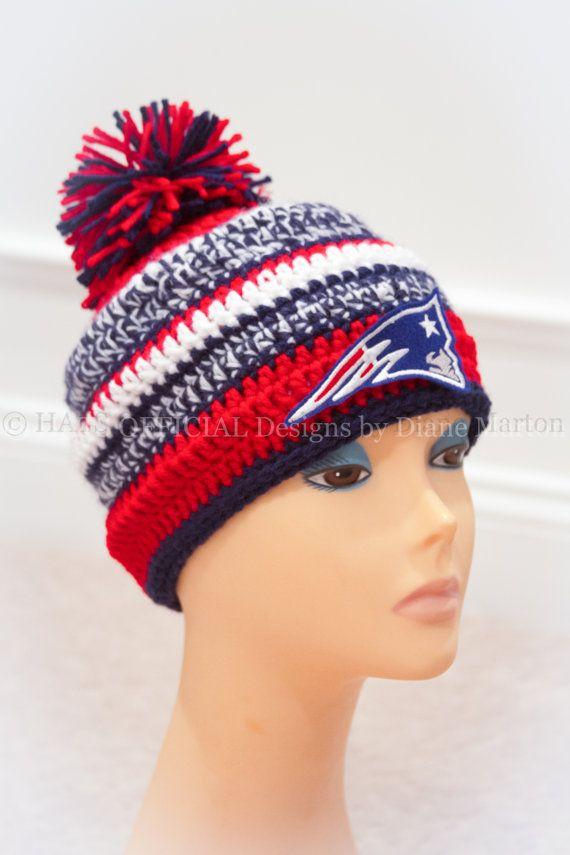 PDF crochet hat PATTERN Red, White, Navy Blue, Football #patriotsdaycraftsforkids