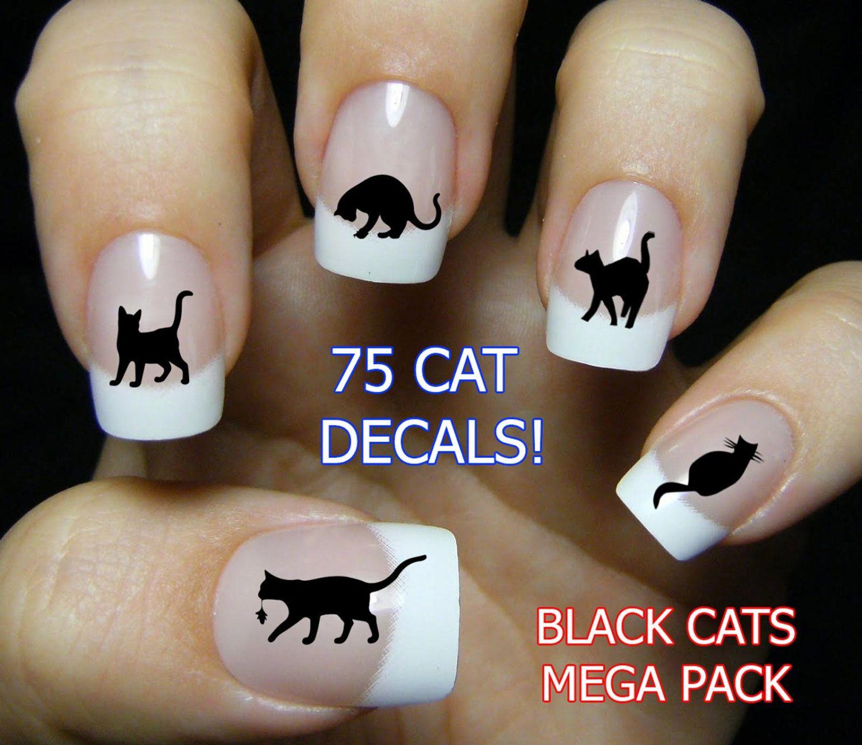 BLACK CATS Nail Art (bc3) 85 Water Slide Transfer Decals MEGAPACK ...