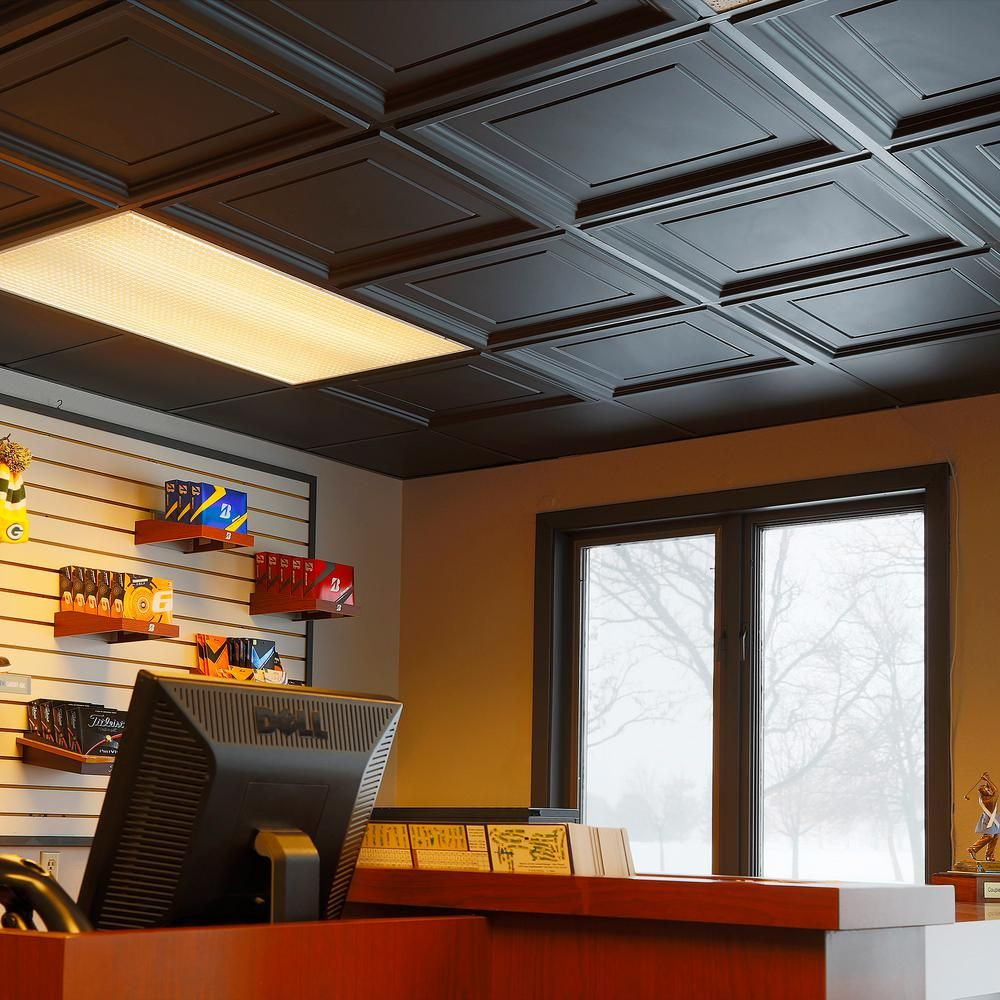 Genesis 2 Ft X 2 Ft Icon Coffer Black Ceiling Tile 753 07 The Home Depot Black Ceiling Tiles Black Ceiling Low Ceiling