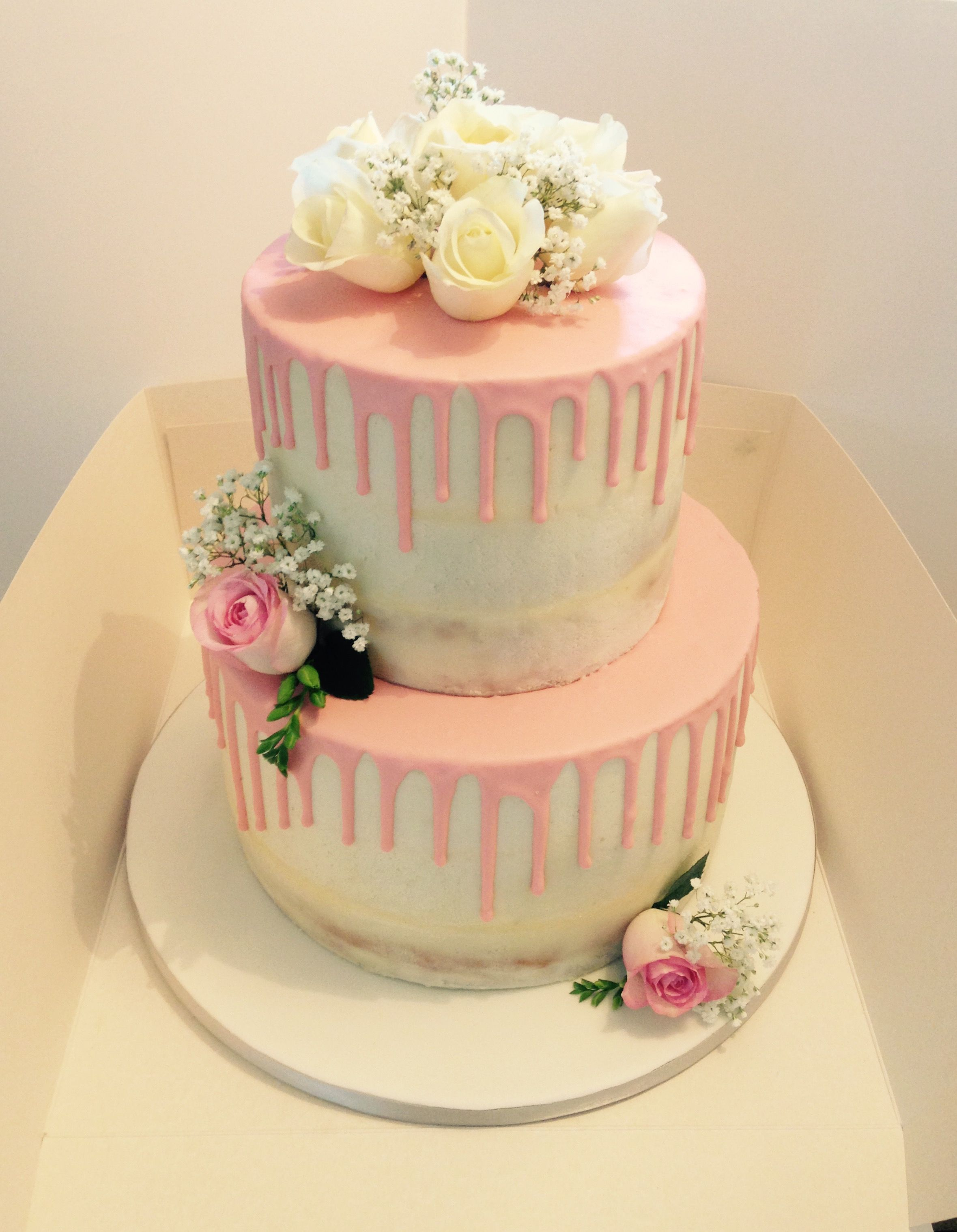 Semi naked cake with drip effect and roses | Wedding cakes by me ...