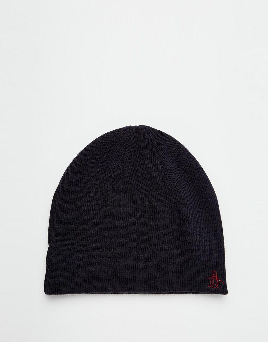 3d4924907bdda Hat by Original Penguin Reversible design Ribbed knit Embroidered logo  Machine wash 100% Acrylic