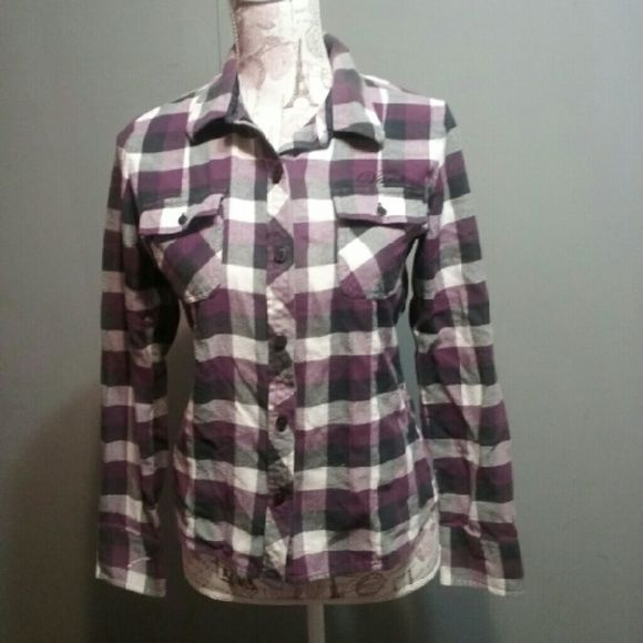 Purple and black VANS flannel Size large,  great condition. Purple and black flannel. Shop my closet to recieve a $20% off bundle discount of any 3 items. :) Vans Tops Button Down Shirts
