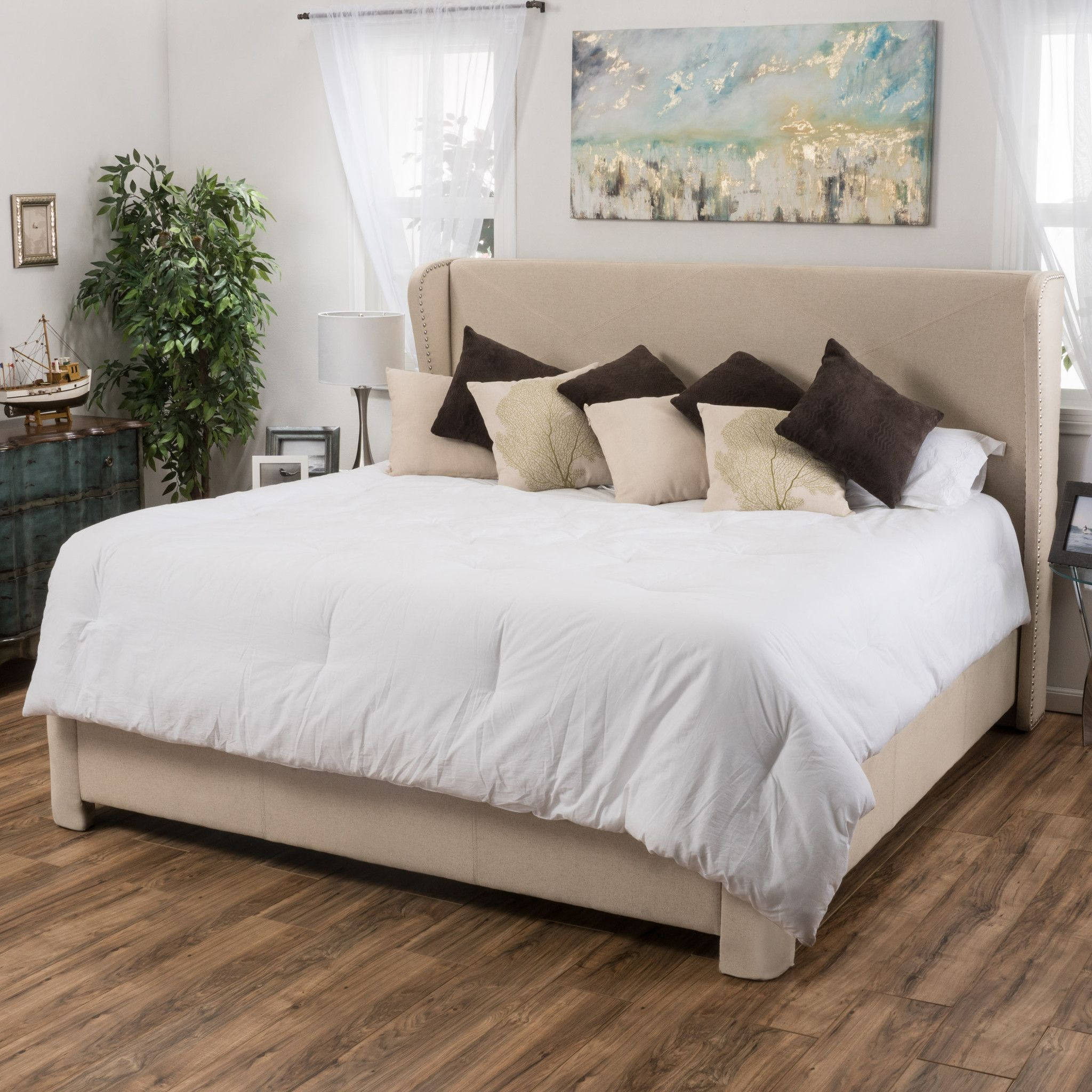 Dover Off-White Fabric King-Sized Bed | Products | Pinterest