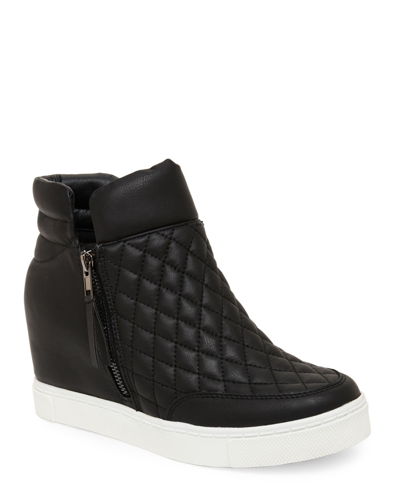 d42e9c31d2e Steve madden black linqss quilted wedge sneakers apparel jpg 1600x2000 Steve  madden wedge tennis shoes