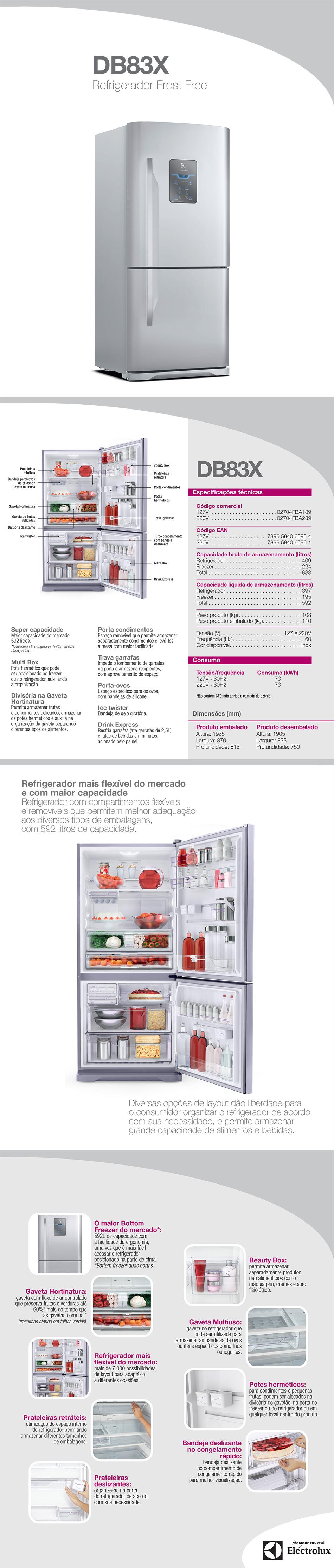 Geladeira electrolux 598 litros inox