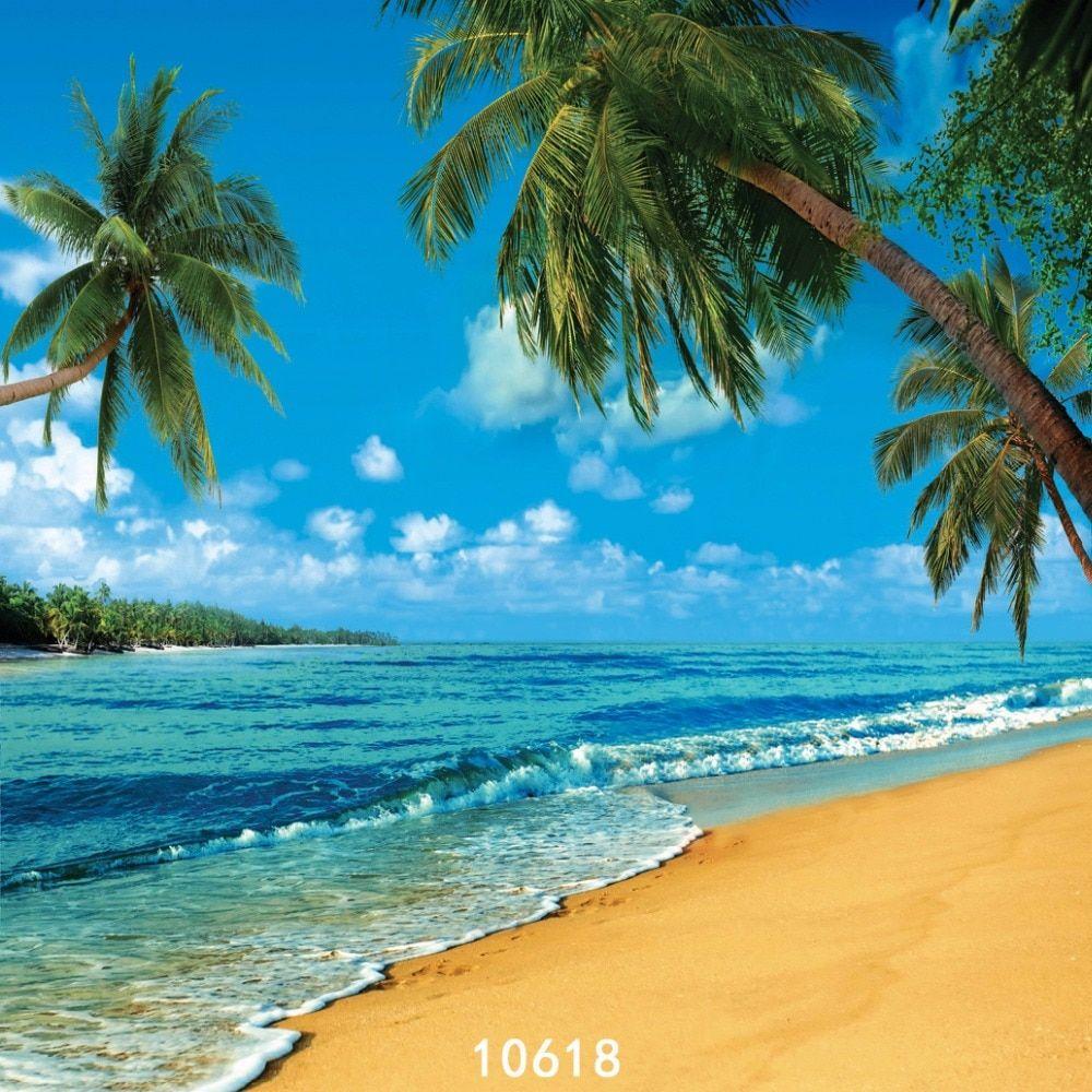 الشاطئ الساحلية أشجار جوز الهند التصوير الخلفية القماش الفينيل صورة خلفية التصوير Studio Beach Backdrop Photography Backdrops Background For Photography