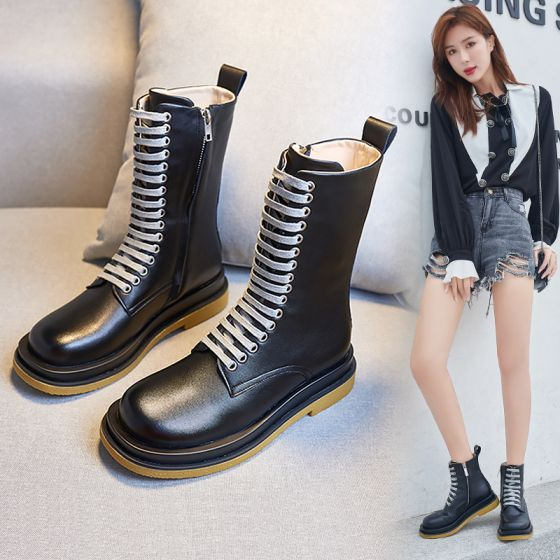 Modest Simple Winter Black Casual Leather Round Toe Womens Boots 2020 Womens Boots Boots Types Of Shoes