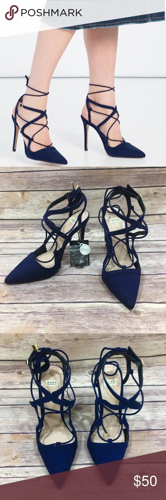 b3d41809b933 NWT Zara Dark Blue Navy Lace Up Heel NWT Zara Dark Blue Navy Lace Up  Stiletto