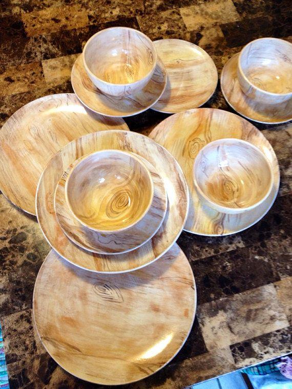 Wood Grain Hand Painted Ceramic Dish Set Dinner Plate