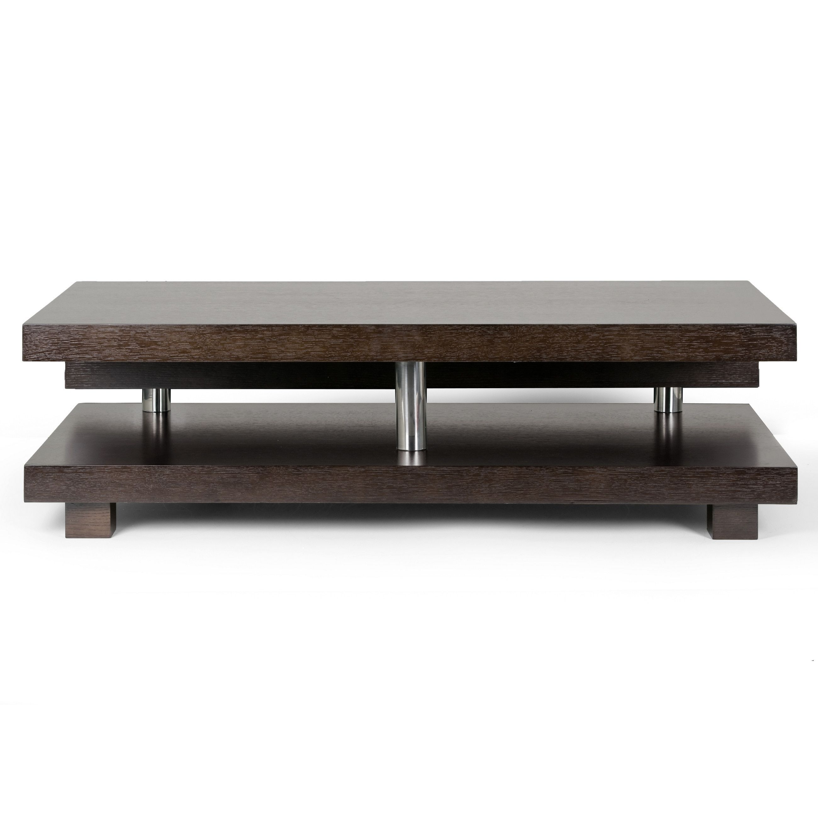 Glamour Alain Modern Coffee Table With Decorative Accent Bar Dark Brown