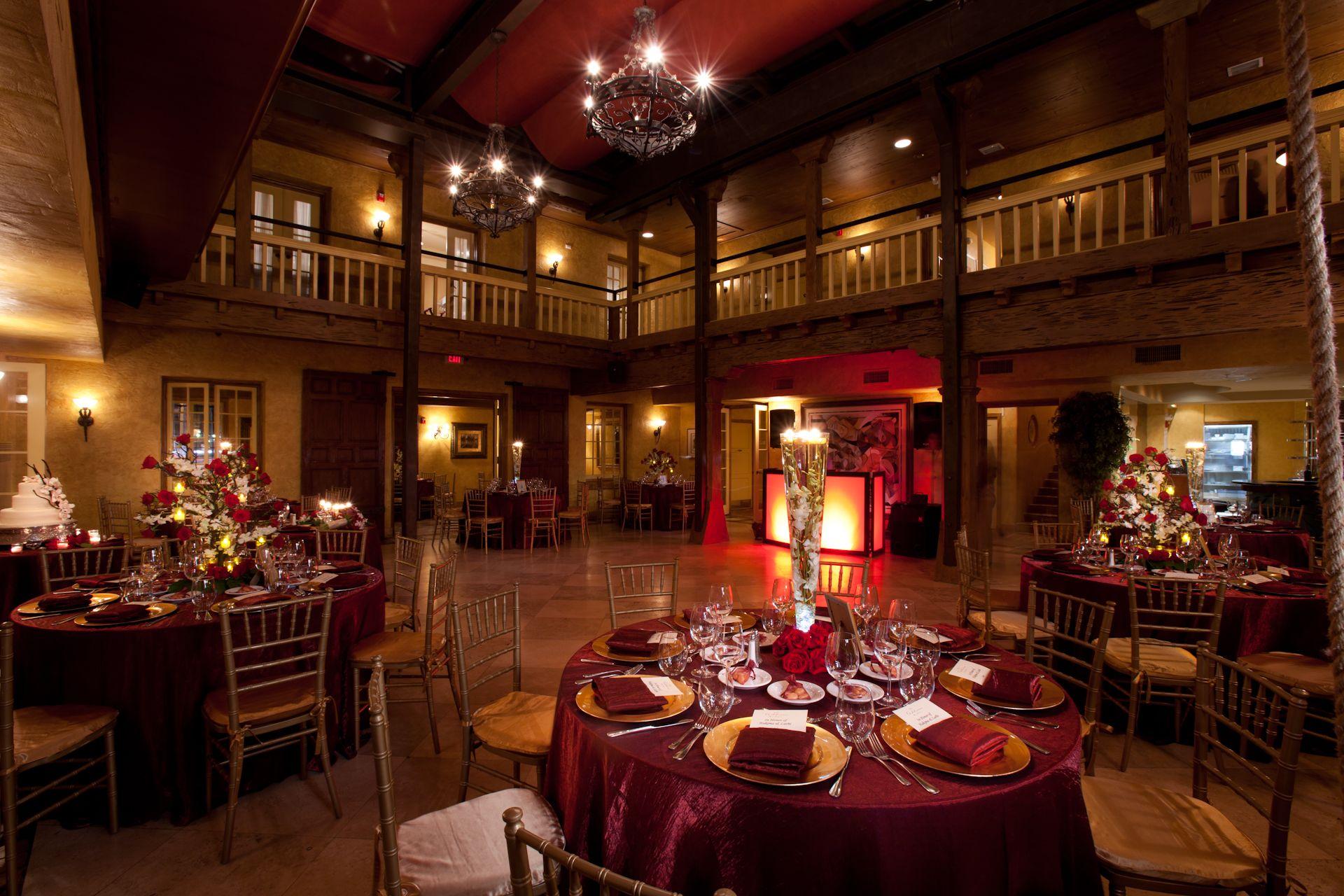 Venue The AddisonBoca Raton FL Main Dining Room Burgundy Gold Decor