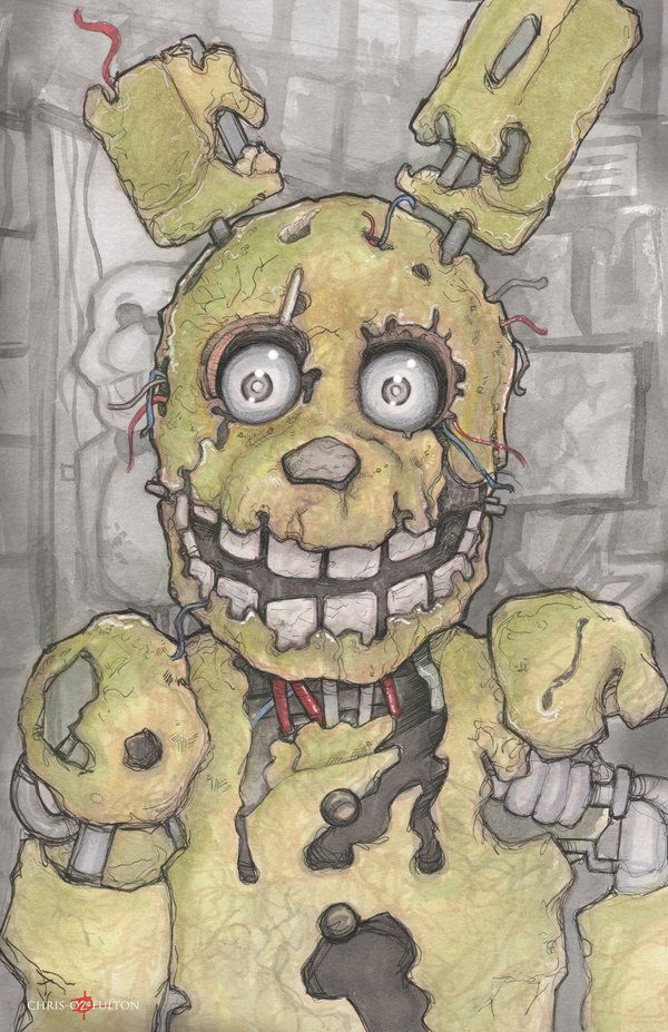 How To Draw Springtrap From Five Nights At Freddys 3 Step By Step