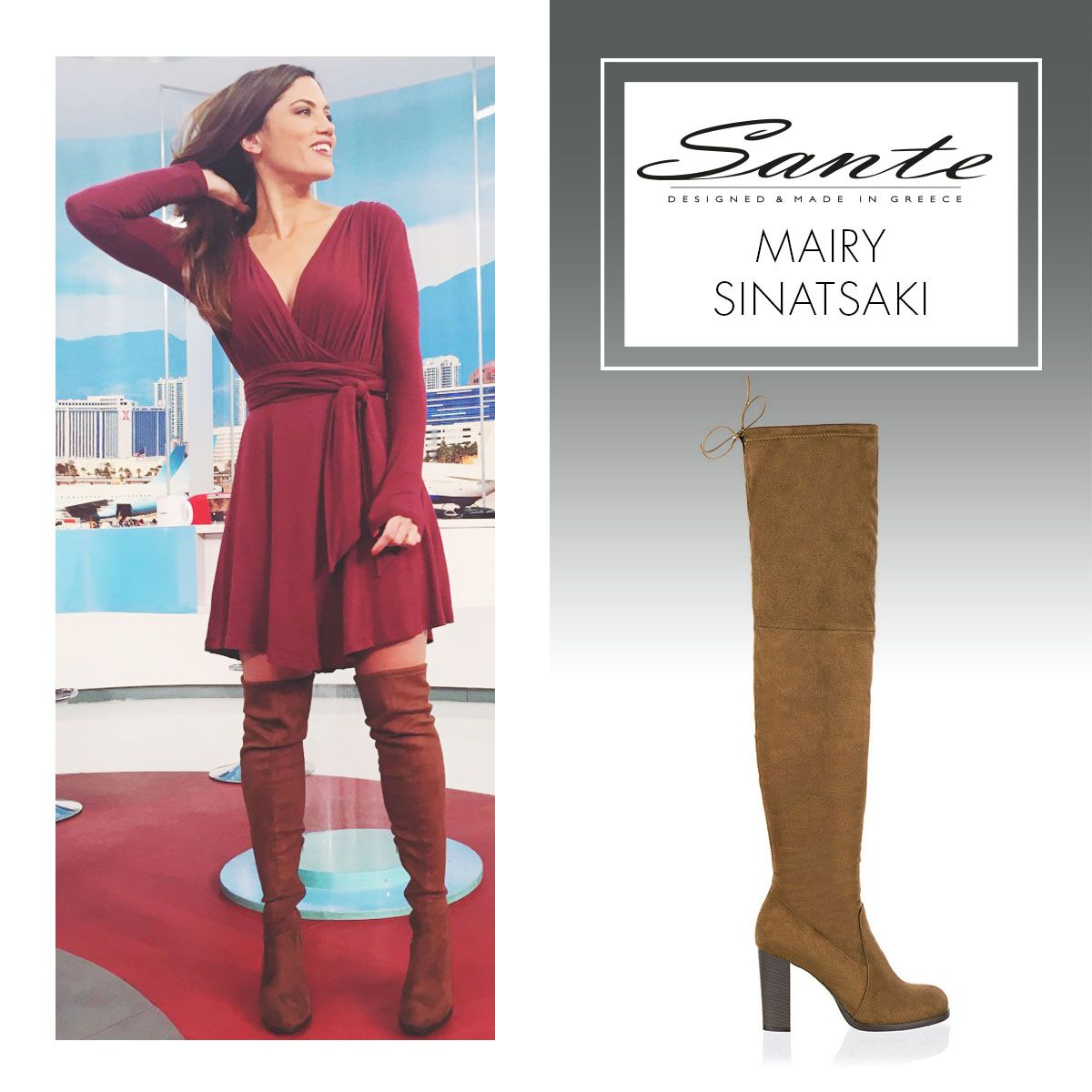 Mairy Sinatsaki in SANTE Over-the-knee Boots #BuyWearEnjoy #CelebritiesinSante Available in stores & online: www.santeshoes.com